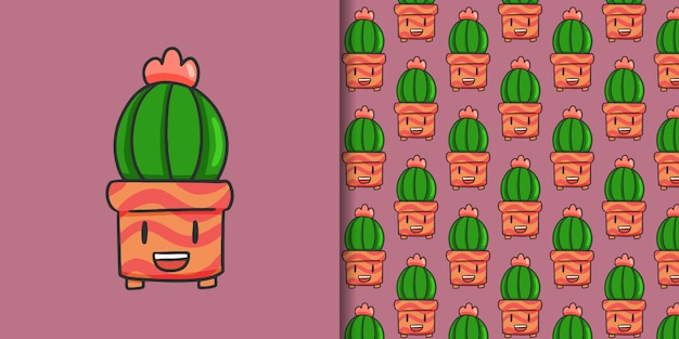 Cactus and seamless pattern on purple
