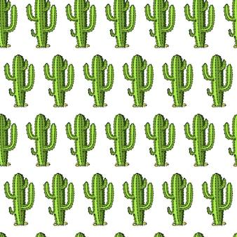 サボテンのシームレスなパターン。多肉植物または熱帯植物。野生の西とカウボーイ。古いスケッチまたはビンテージスタイルと印刷のラベルで描かれた刻まれた手。