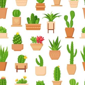 Кактус бесшовные модели. тропическое растение, сочные и милые кактусы с цветком в горшке. модные цветочные домашние растения декор вектор обои печать