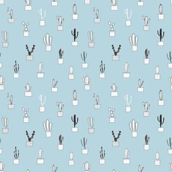 サボテンのシームレスなパターン。布やギフト包装紙のデザインのベクトルイラスト。