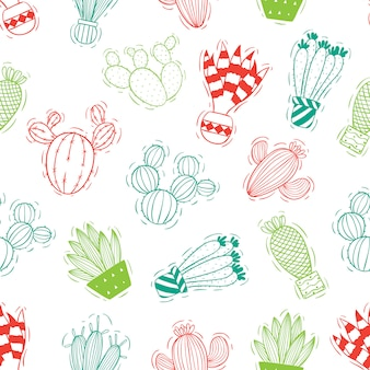 Cactus seamless pattern with colored doodle style