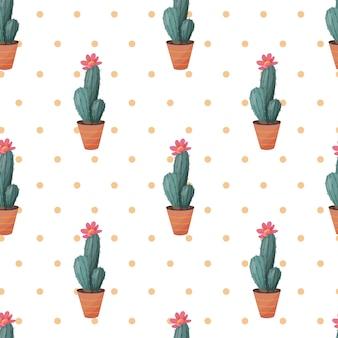 Cactus seamless pattern.