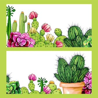 Cactus shop banners, flowers houseplants garden