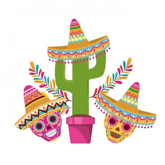 Cactus and skull with mexican hat icon
