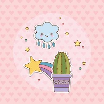 Cactus sticker kawaii style