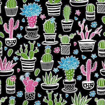 Cactus and succulent hand drawn seamless pattern in sketch style on black. doodle colors flowers in pots.  colorful cute house interior plants.