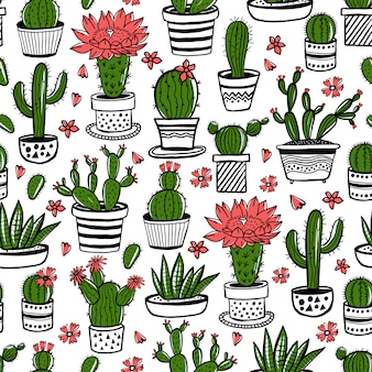 Cactus and succulent hand drawn seamless pattern in sketch style. doodle colors flowers in pots.   colorful cute house interior plants.