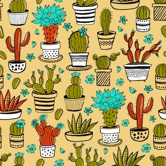 Cactus and succulent hand drawn seamless pattern in sketch style on yellow. doodle colors flowers in pots.   colorful cute house interior plants.