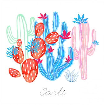 Cactus succulent wild flowers colorful watercolor sketch style print. botanical houseplant bright collection on white background. hand drawn.