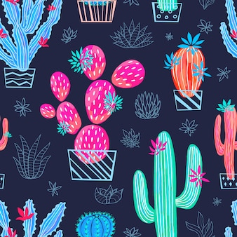 Cactus succulent wild seamless pattern flowers colorful watercolor bright collections.