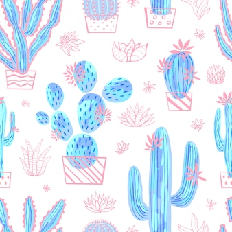 Cactus succulent wild seamless pattern watercolor. houseplant beautiful hand drawn illustration