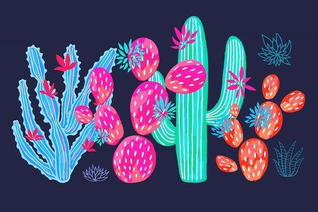 선인장 즙이 많은 야생 꽃 화려한 수채화 핑크 컬렉션을 설정합니다. 관엽 식물 아름 다운 흰색 배경을 설정합니다. 손으로 그린.