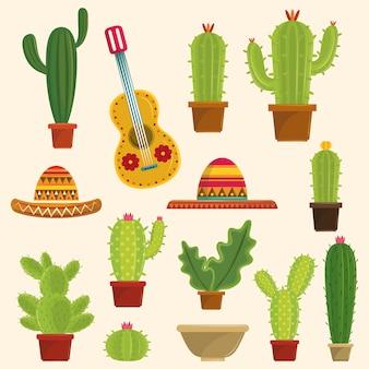 Cactus succulents pots set of icons