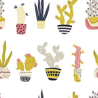 Кактус тропические растения в горшках бесшовные модели мультфильм детские каракули рисованные кактусы