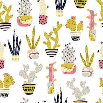 Cactus tropical plants in pots seamless pattern cartoon childish doodle hand-drawn cacti