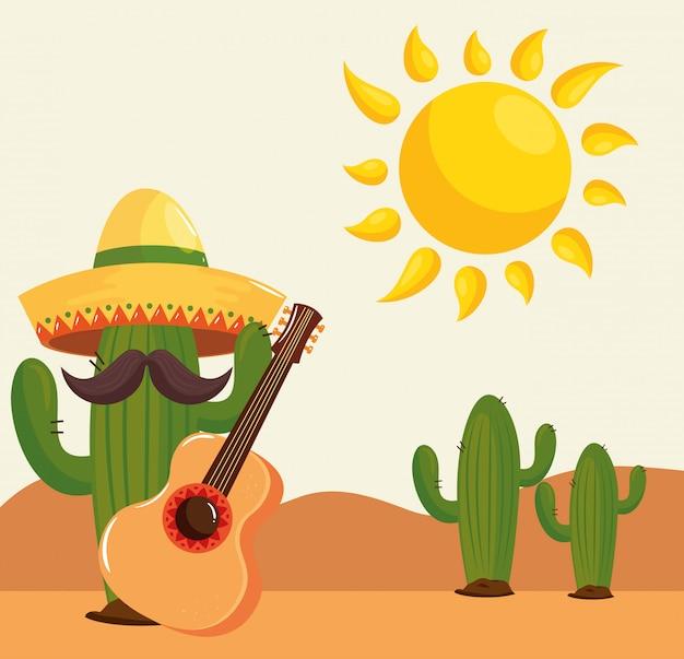 砂漠でギターと帽子をかぶっているサボテン