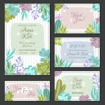 Cactus wedding cards set