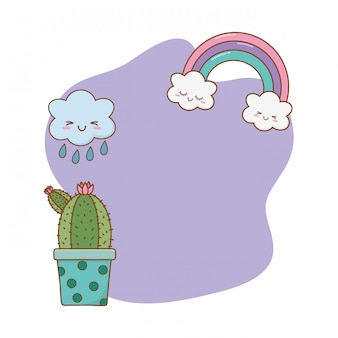 Cactus with cloud frame