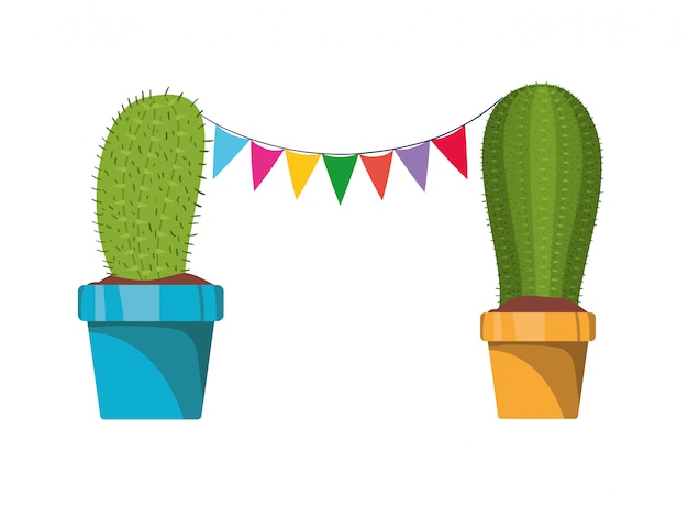 Cactus with garland hanging isolated icon