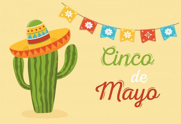 Cactus with hat decoration cinco de mayo mexican celebration