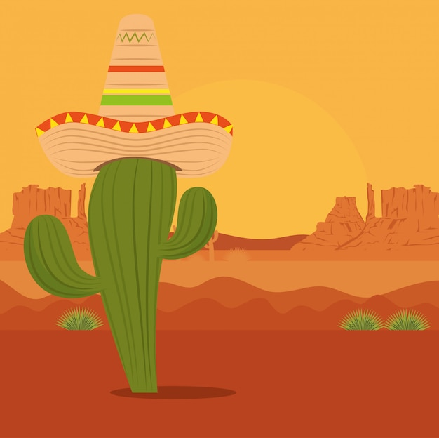 Cactus with hat in the desert