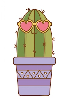 Cactus with heart sunglasses