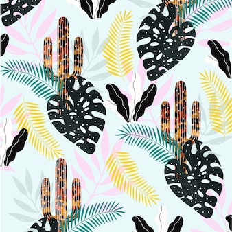 Cactus with leaves pattern