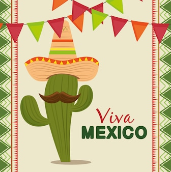 Cactus with mexican hat and mustache to celebrate event