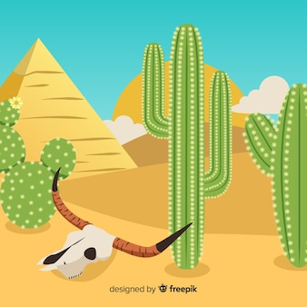 Cactus with skull illustration