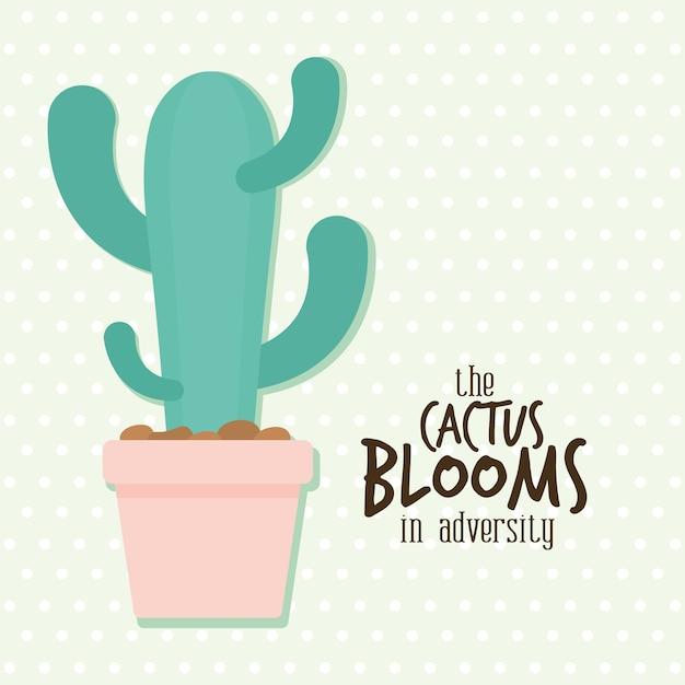 Кактус с цветущим кактусом на буквах о невзгодах сбоку дизайн иллюстрации