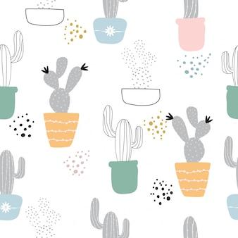 シームレスなかわいい手cactusパターンの背景を描いた