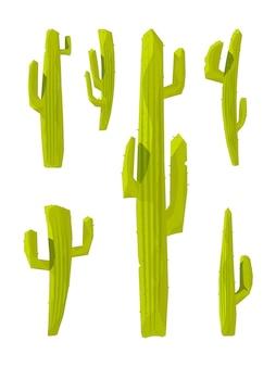 Кактусы. коллекция колючих растений иллюстрации в мультяшном стиле.