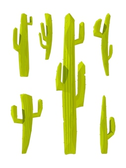 Cactuses. collection of prickly plants illustration in cartoon style.