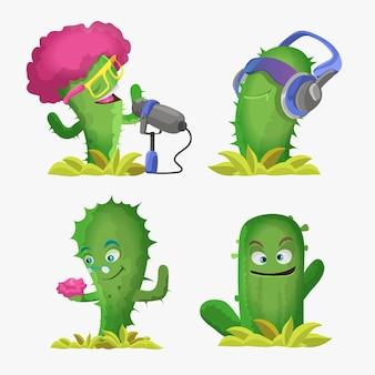 선인장은 귀여운 카와이 캐릭터입니다. 웃는 얼굴을 가진 식물. 재미 있은 이모티콘, 이모티콘 세트. 격리 된 만화 컬러 일러스트입니다.