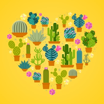 Cactuses in heart shape.