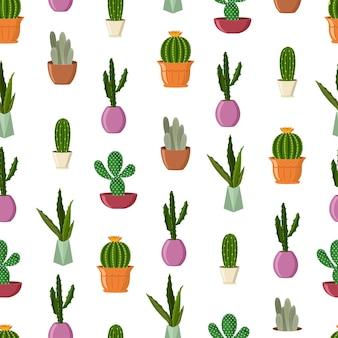 鉢植えのサボテンは、白い背景にシームレスなパターンを漫画します。