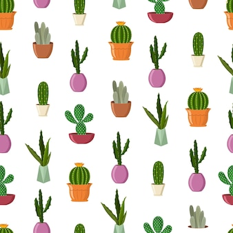 Cactuses in pots  cartoon seamless pattern on a white background.