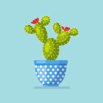 花のコンセプトを持つサボテン鉢植え