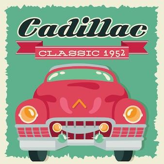 Cadillac в стиле ретро с автомобилем и дизайном векторной иллюстрации года