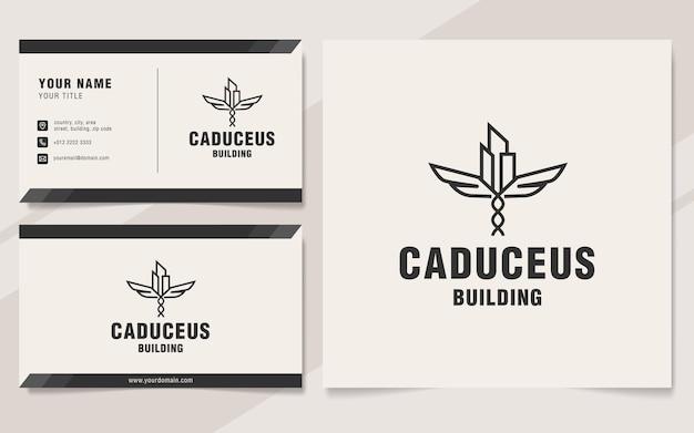 Caduceus building logo template on monogram style