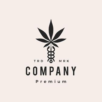 Caduceus cannabis medical pharmacy hipster vintage logo vector icon illustration