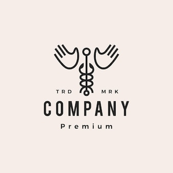 Caduceus hand wing hipster vintage logo vector icon illustration