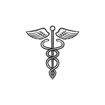 Кадуцей медицинский символ рисованной наброски каракули значок. медицинская палочка крыльев змей как система медицины и концепция здравоохранения. векторная иллюстрация эскиз для интернета и инфографики на белом фоне.