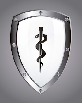 Caduceus sign over white shield vector illustration