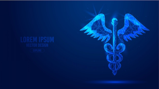 Caduceus staff snake wings geometric lines, low polygon triangles style wireframe