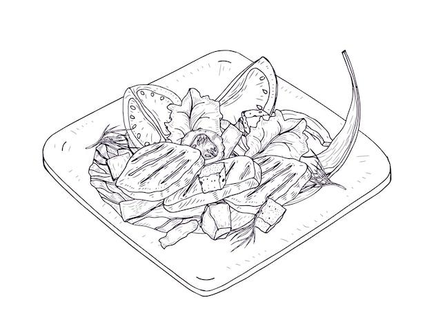 흰색 배경에 등고선으로 그린 접시 손에 시저 샐러드. 닭고기, 상추 잎, 신선한 야채와 크루통으로 만든 맛있는 레스토랑 식사. 현실적인 벡터 일러스트 레이 션.