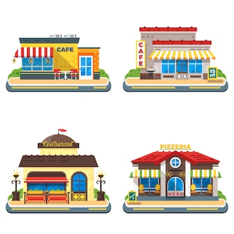 Cafe 2x2 flat icons set