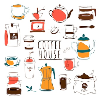 Cafe and coffee house pattern vector