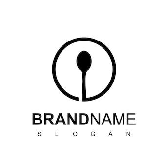 ワンラインスタイルのカフェとレストランのロゴ