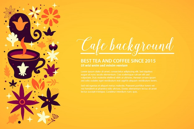 Cafe background template with floral and abstract elements